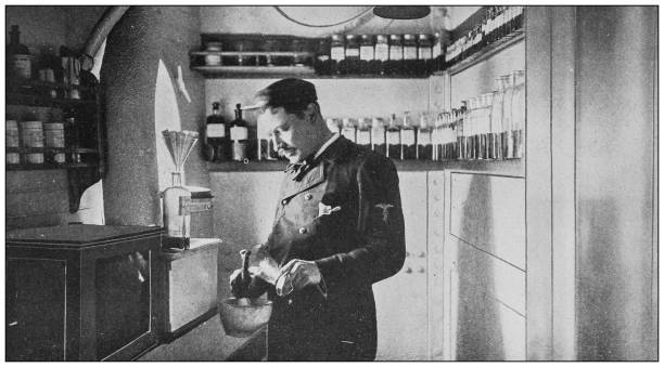 """Antique historical photographs from the US Navy and Army: Dispensary in the """"Indiana"""" Antique historical photographs from the US Navy and Army: Dispensary in the """"Indiana"""" 20th century history stock pictures, royalty-free photos & images"""