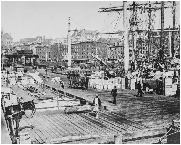 Antique historical photographs from the US Navy and Army: East River Docks, New York Antique historical photographs from the US Navy and Army: East River Docks, New York 1890 stock pictures, royalty-free photos & images