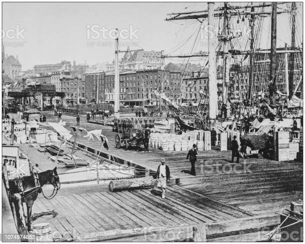 Antique historical photographs from the US Navy and Army: East River Docks, New York