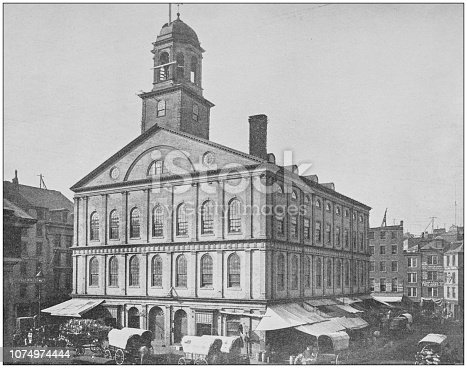 Antique historical photographs from the US Navy and Army: Faneuil Hall, Boston