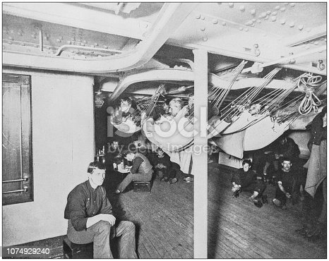 Antique historical photographs from the US Navy and Army: Hammocks in the