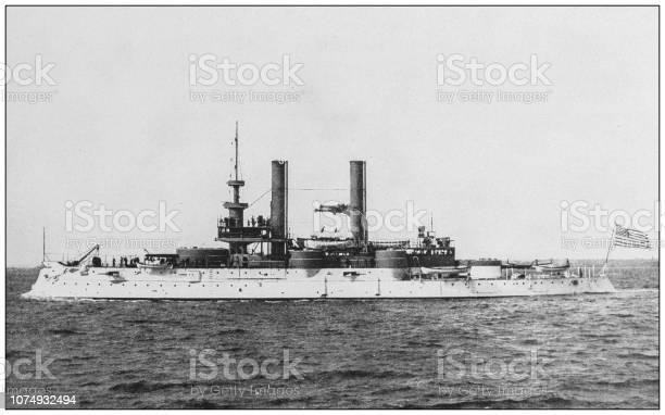 """Antique historical photographs from the US Navy and Army: """"Iowa"""""""