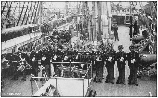 Antique historical photographs from the US Navy and Army: Marine Guard Essex