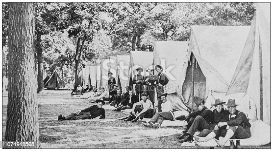 Antique historical photographs from the US Navy and Army: Military camp