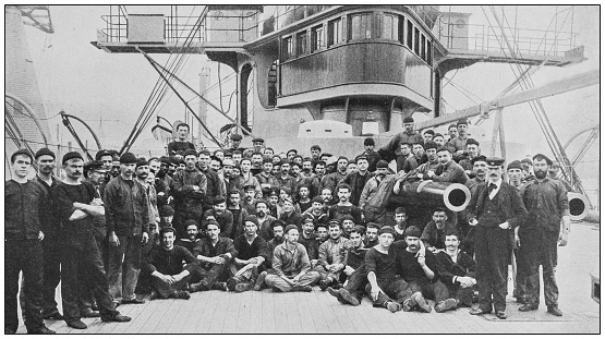 Antique historical photographs from the US Navy and Army: