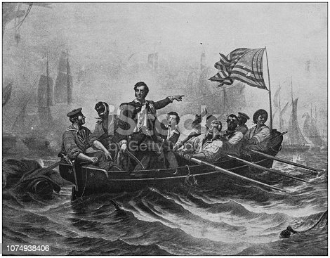 Antique historical photographs from the US Navy and Army: Perry's victory at the battle of lake Erie