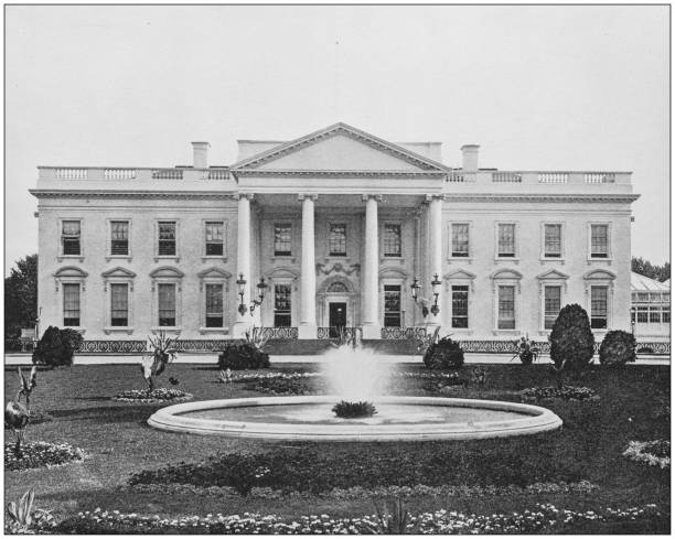 Antique historical photographs from the US Navy and Army: White House Antique historical photographs from the US Navy and Army: White House 1890 stock pictures, royalty-free photos & images