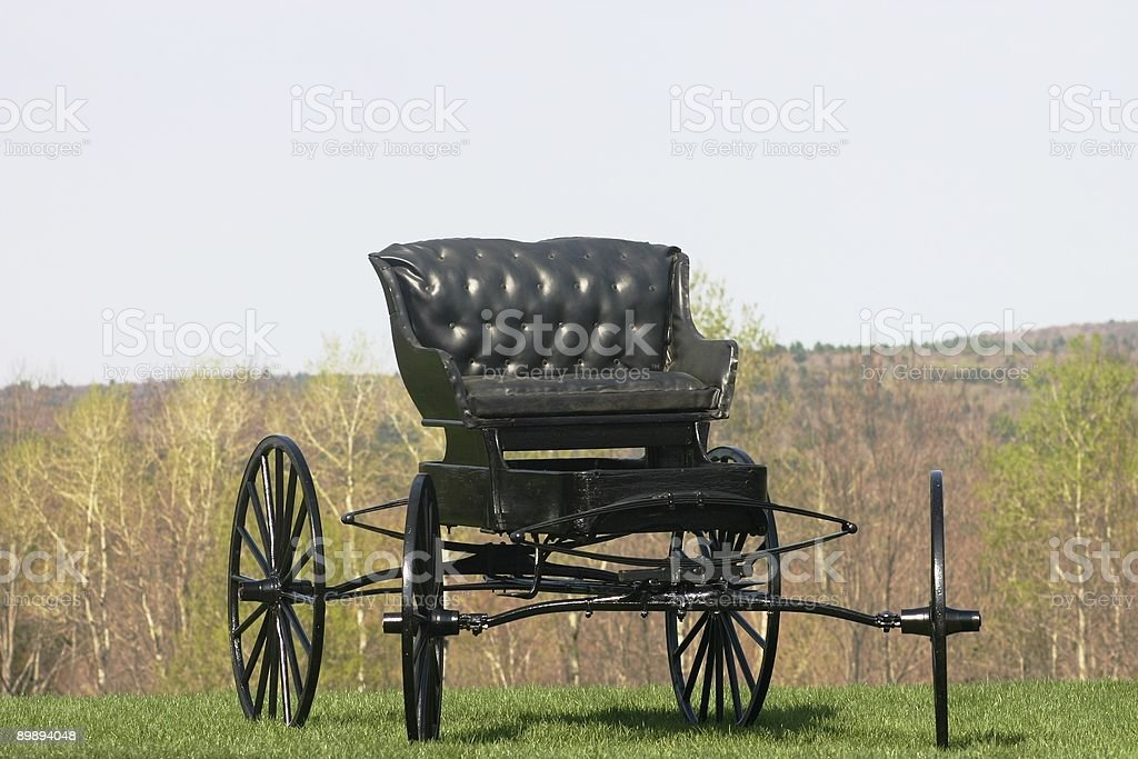 Antique Horse-Drawn Carriage with Wooden Wheels royalty-free stock photo