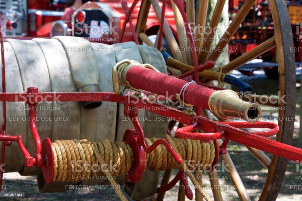 Antique horse-drawn pumper fire apparatus stock photo