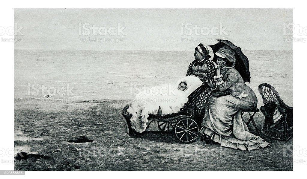 Antique illustration of 'Au bord de la mer' by Duez stock photo