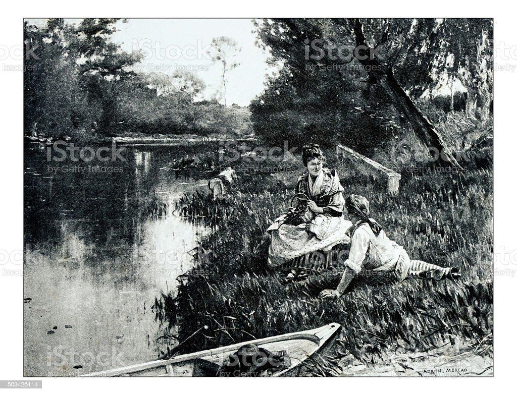 Antique illustration of 'Au bord de l'eau' by Moreau stock photo