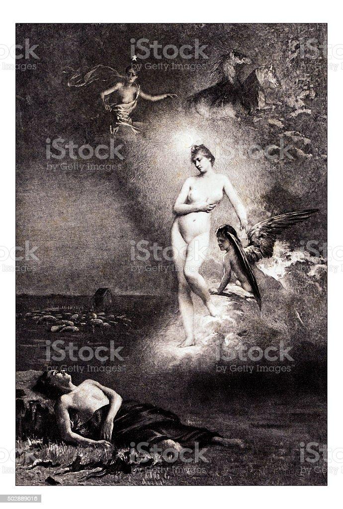 Antique illustration of 'Diane et Endymion' by Foubert stock photo