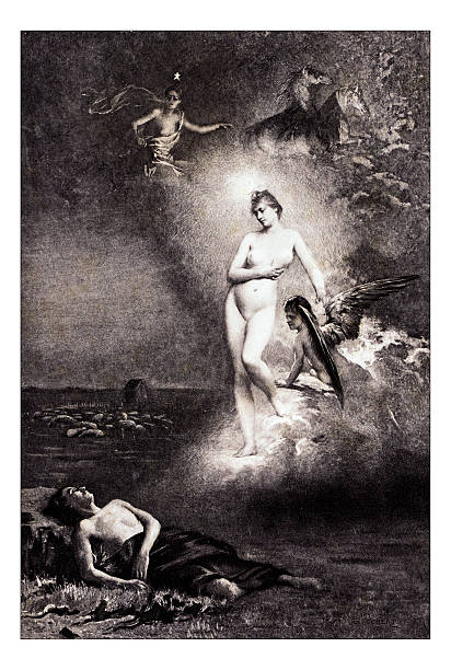 """antique illustration of """"diane et endymion"""" by foubert - naked women with animals stock photos and pictures"""