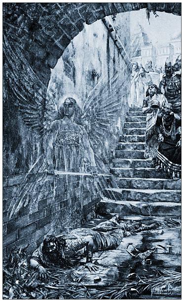 """antike illustration von """"la foil blanket du roi nabuchodonosor"""" von rochegrosse - engel zeichnen stock-fotos und bilder"""