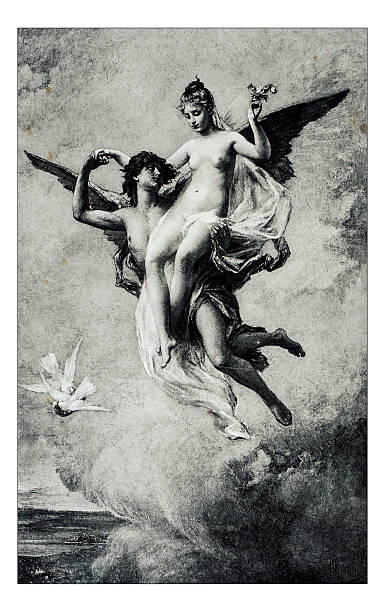 """antique illustration of """"l'amour et psyche"""" by thirion - naked women with animals stock photos and pictures"""