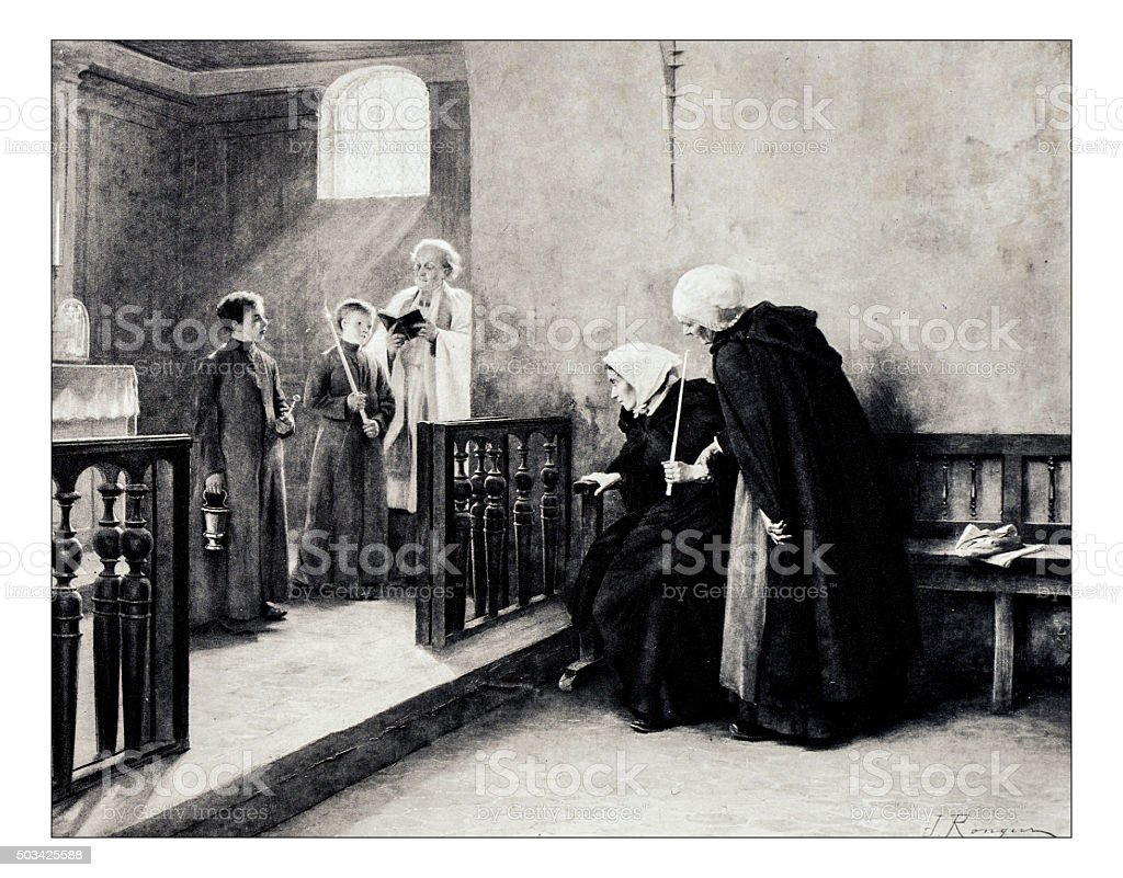Antique illustration of 'Les relevailles' by Rongier stock photo