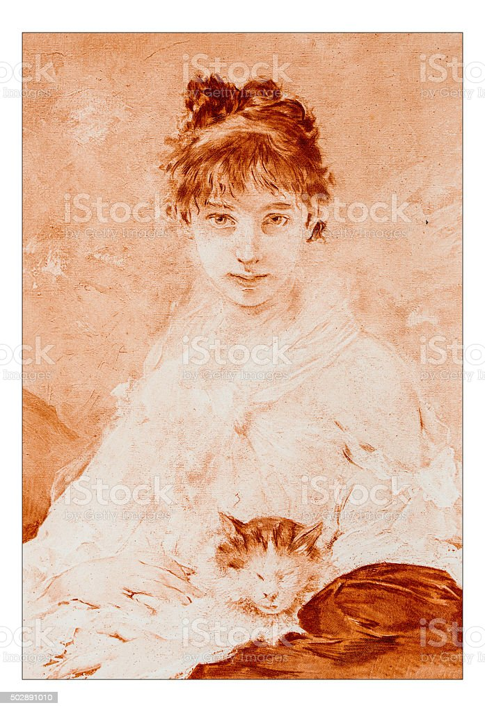 Antique illustration of 'Miss W' by Chaplin stock photo
