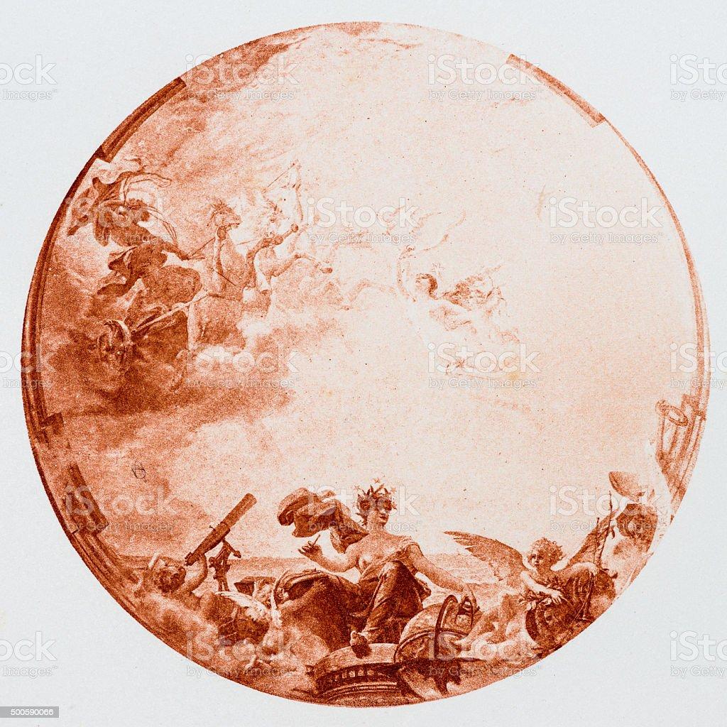 Antique illustration of 'Passage de Venus' by Dupain stock photo