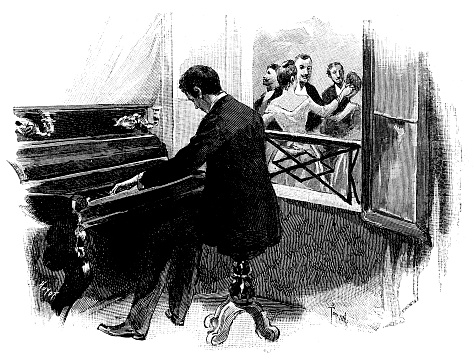 Antique illustration of pianist