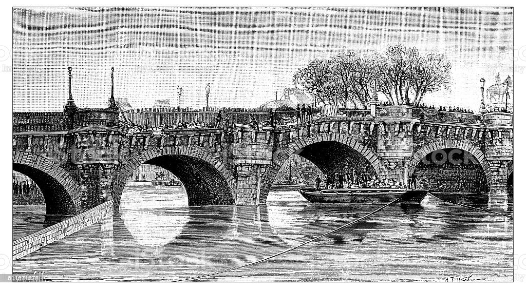 Antique illustration of Pont Neuf damage problem, Paris stock photo