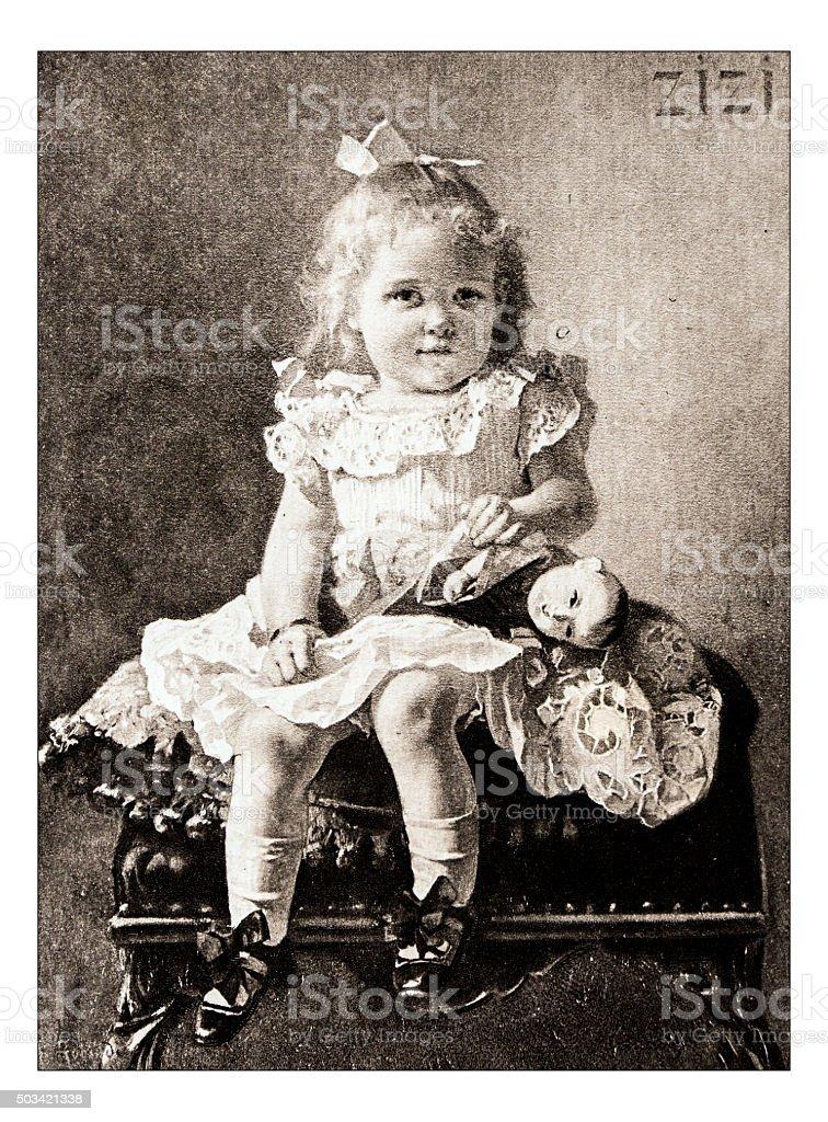 Antique illustration of 'Portrait de Mademoiselle Marie C' by Robaudi stock photo