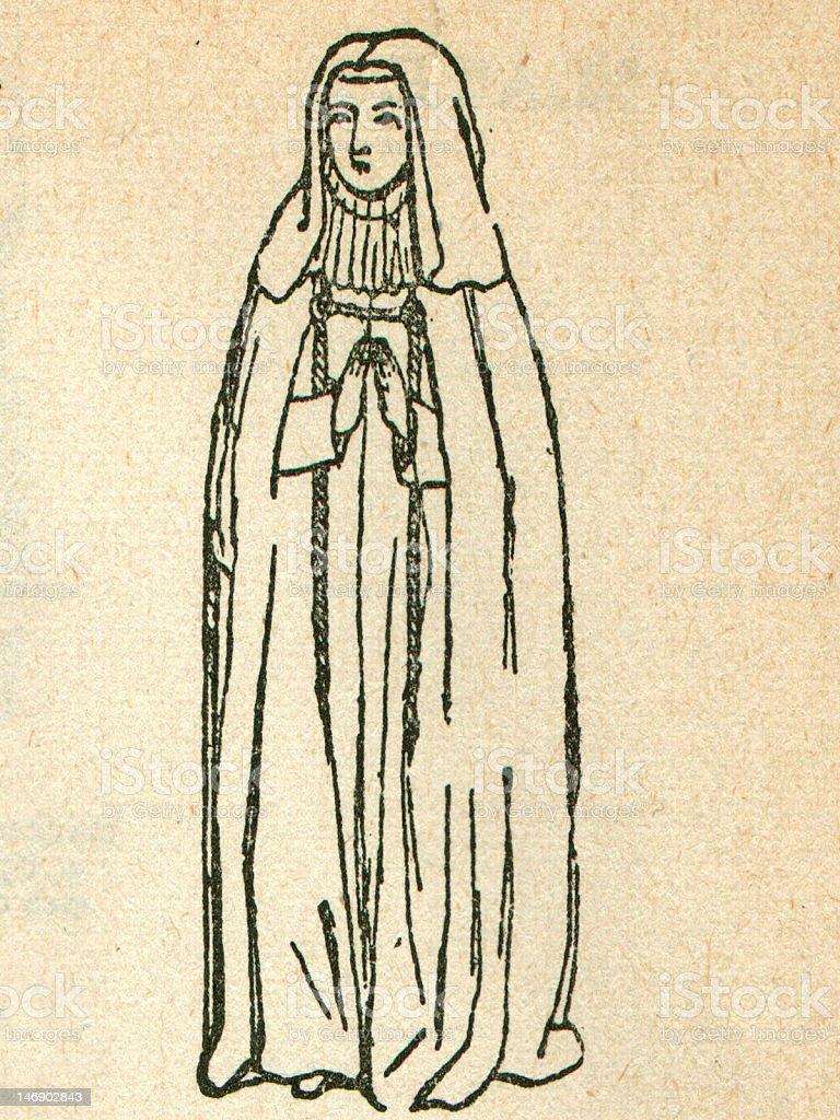 Antique Illustration of Praying Nun royalty-free stock photo