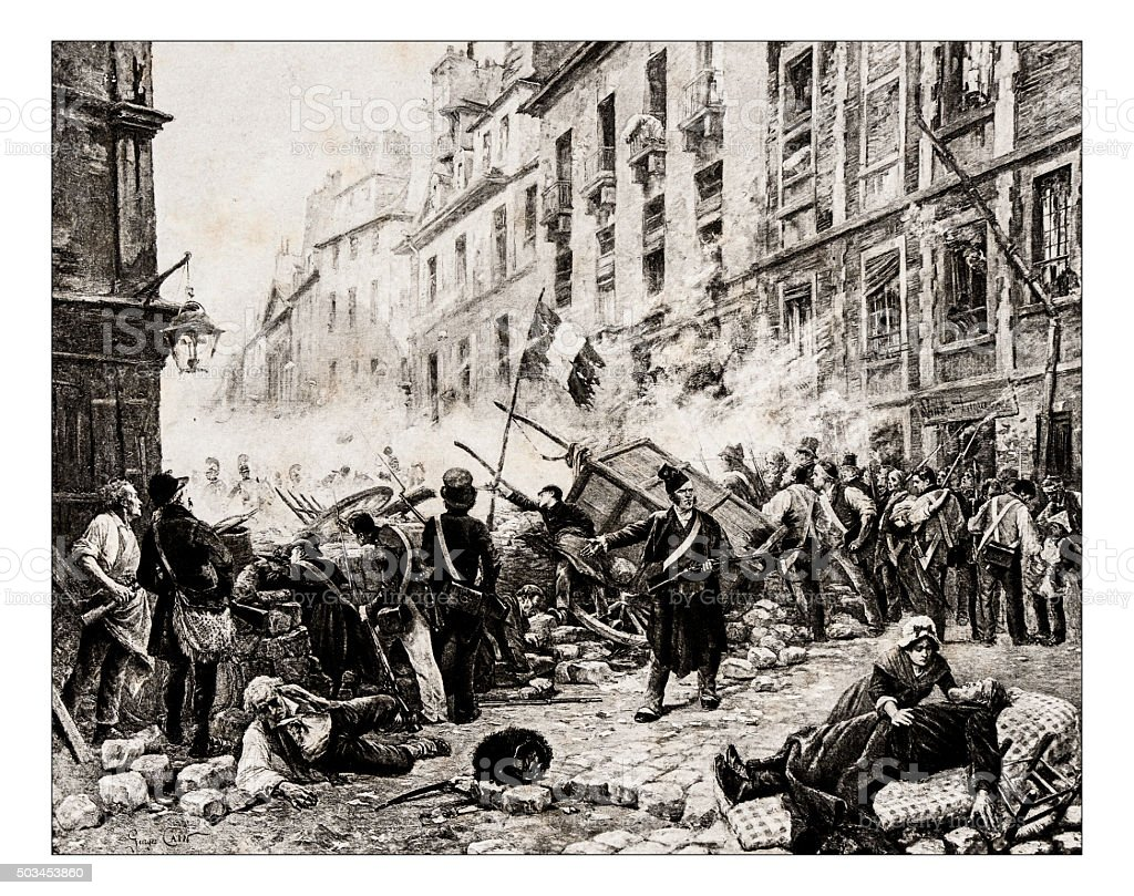 Antique illustration of 'Un barricade in 1830' by Cain stock photo
