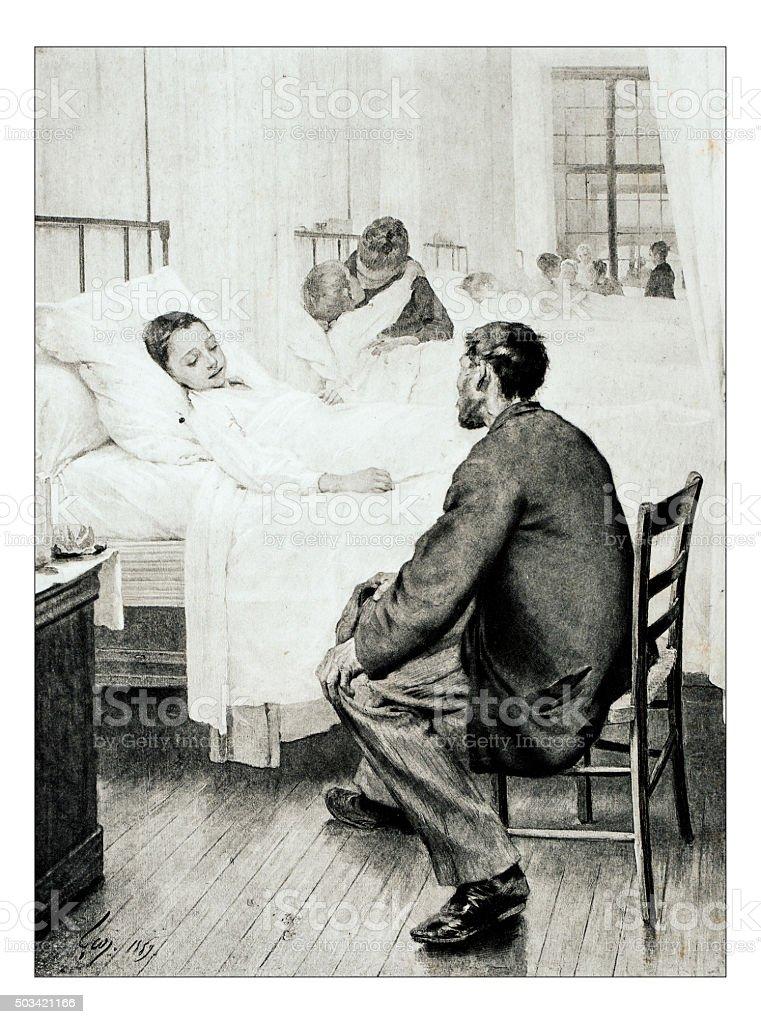 Antique illustration of 'Un jour de visite a l'hopital' Geoffroy stock photo