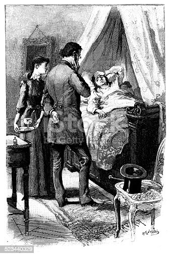 istock Antique illustration of woman in bed with visitors 523440329