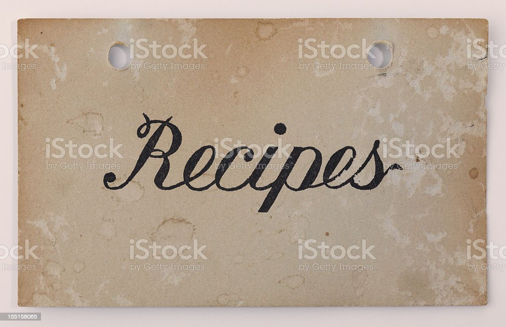 Antique Index Recipe & Old Fashioned Card, Vintage Paper Textured Background royalty-free stock photo