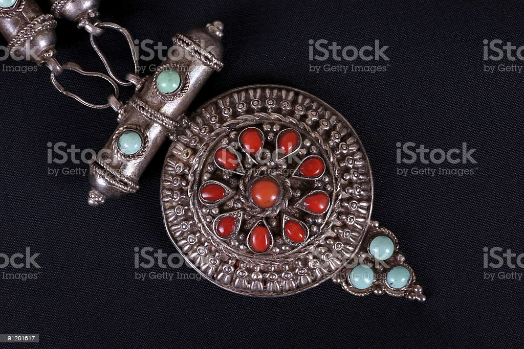 Antique Indian stone necklace. royalty-free stock photo