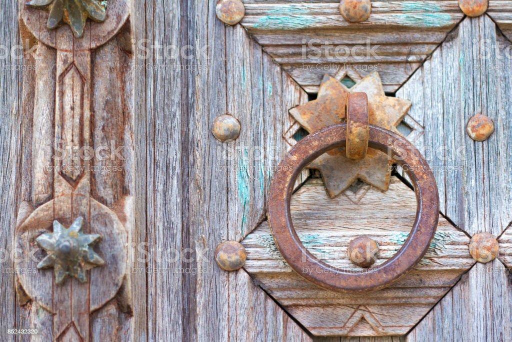 Antike Indische Holztur Detail Mit Rusty Tur Ziehen