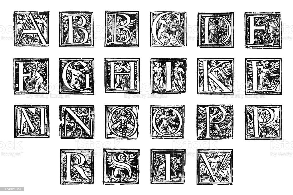 Antique initials from 1600 stock photo