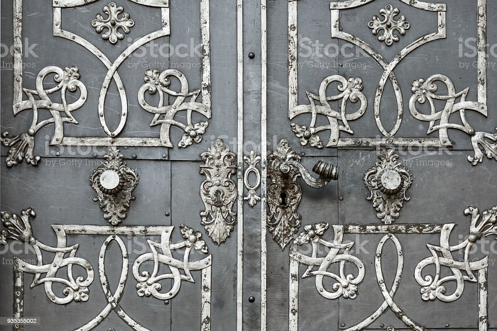 Antique iron doors with ornaments. royalty-free stock photo - Antique Iron Doors With Ornaments Stock Photo & More Pictures Of