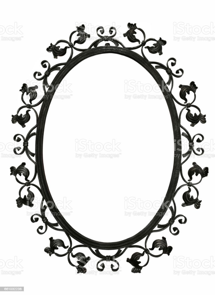 Antique iron mirror frame stock photo