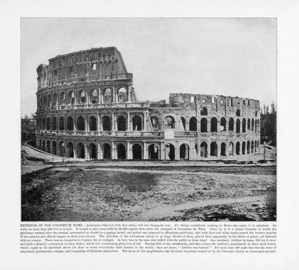 antique italian photograph: exterior of the colosseum, rome, italy, 1893 - colosseo 1900 foto e immagini stock