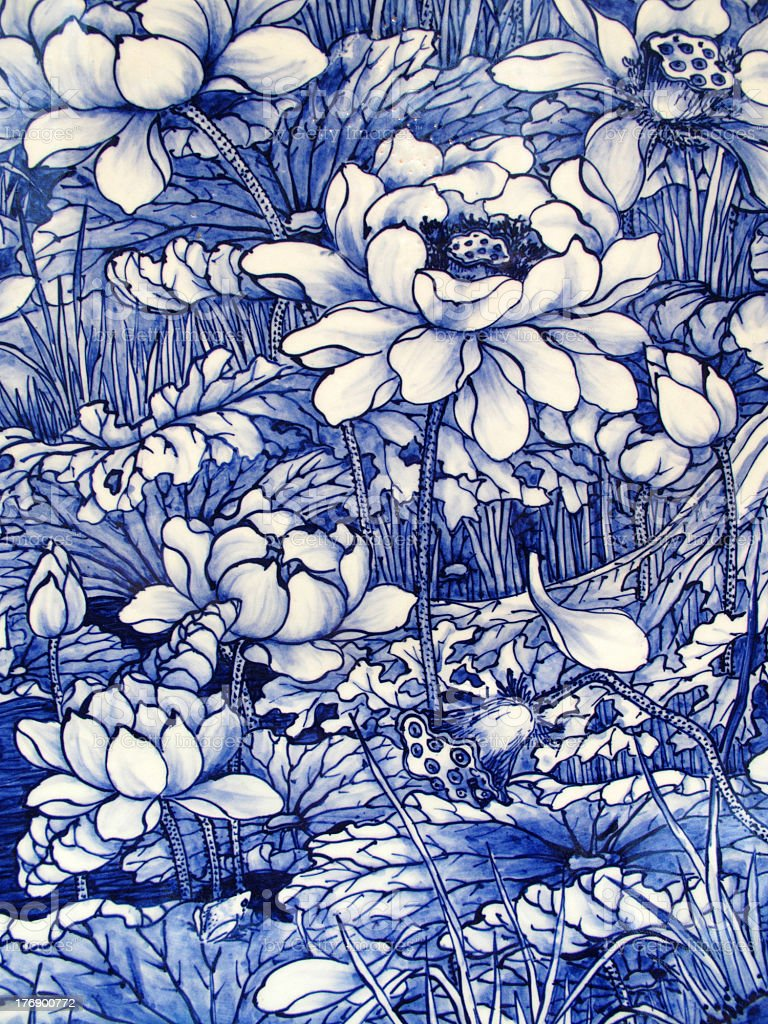 Antique Japanese Floral Pattern Porcelain Tile Panel stock photo