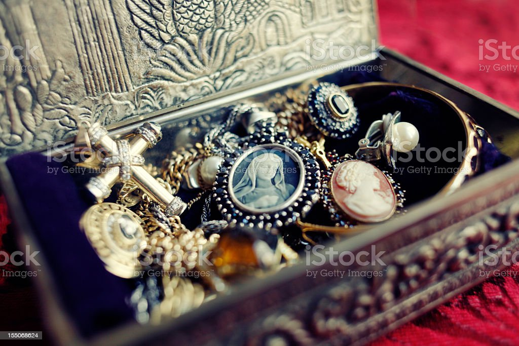 Antique Jewelry Box stock photo