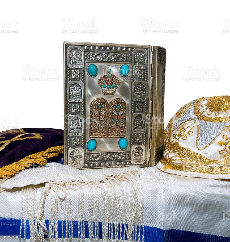 Antique Jewish Bible, Yarmulka & Tallis stock photo