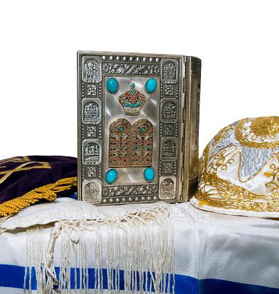 Antique Jewish Bible Yarmulka Tallis Stock Photo - Download Image Now