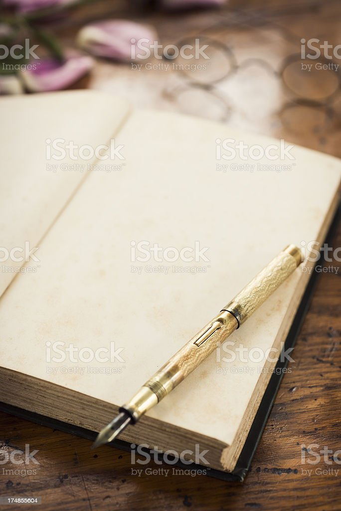 Antique Journal and Gold Fountain Pen with Copy Space royalty-free stock photo