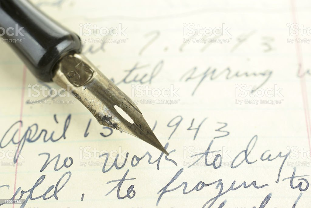 antique journal and pen royalty-free stock photo
