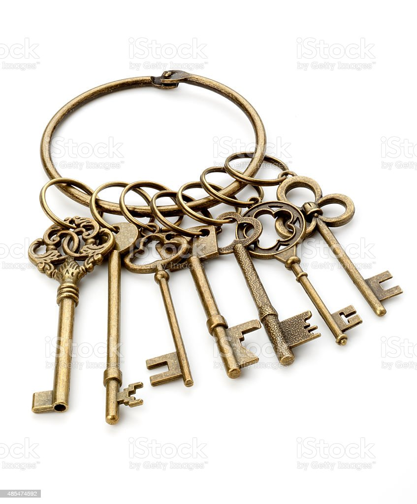Antique key bunch stock photo