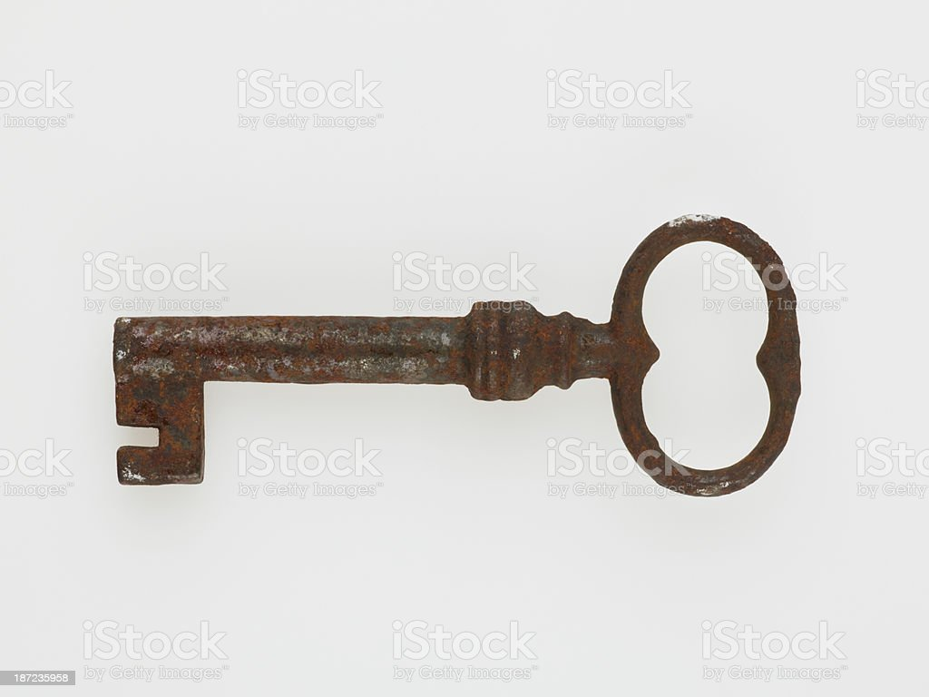 Antique Key On White royalty-free stock photo