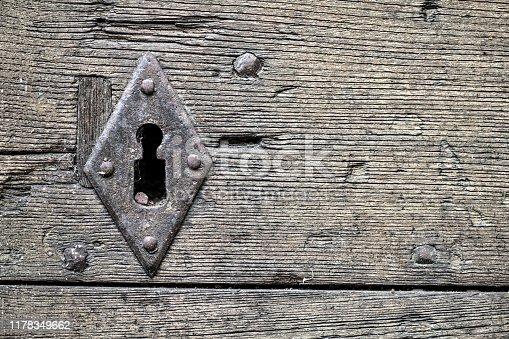 Antique keyhole on wood door