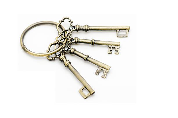Antique keys attached to the keyring stock photo