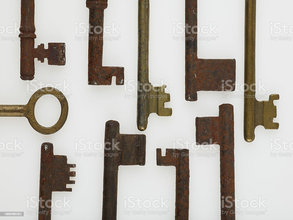 Antique Keys On White royalty-free stock photo