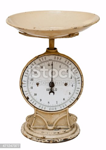 Antique and empty weight scale for domestic use.