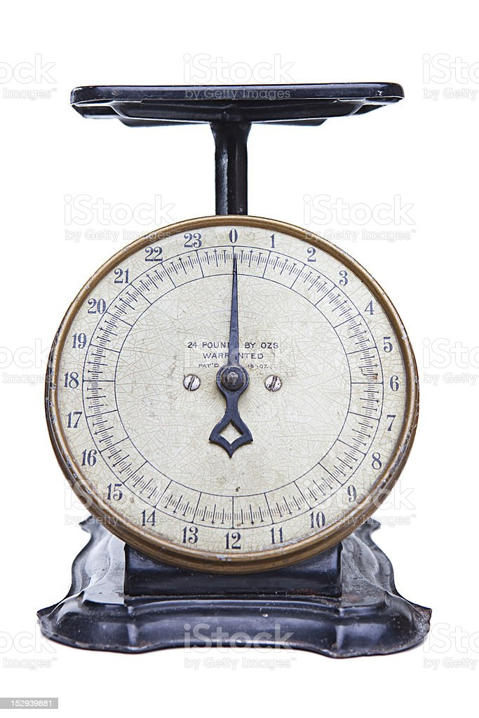 ... Antique Kitchen Scale Shot On White Stock Photo ...