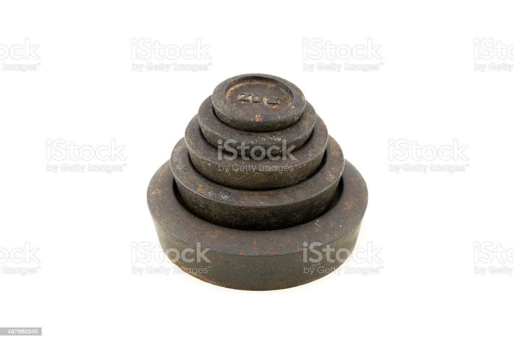 Antique Kitchen Scale Weights stock photo